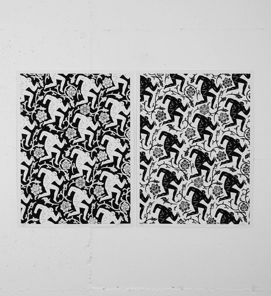 Shepard Fairey and Cleon Peterson - Pattern of corruption (black white)
