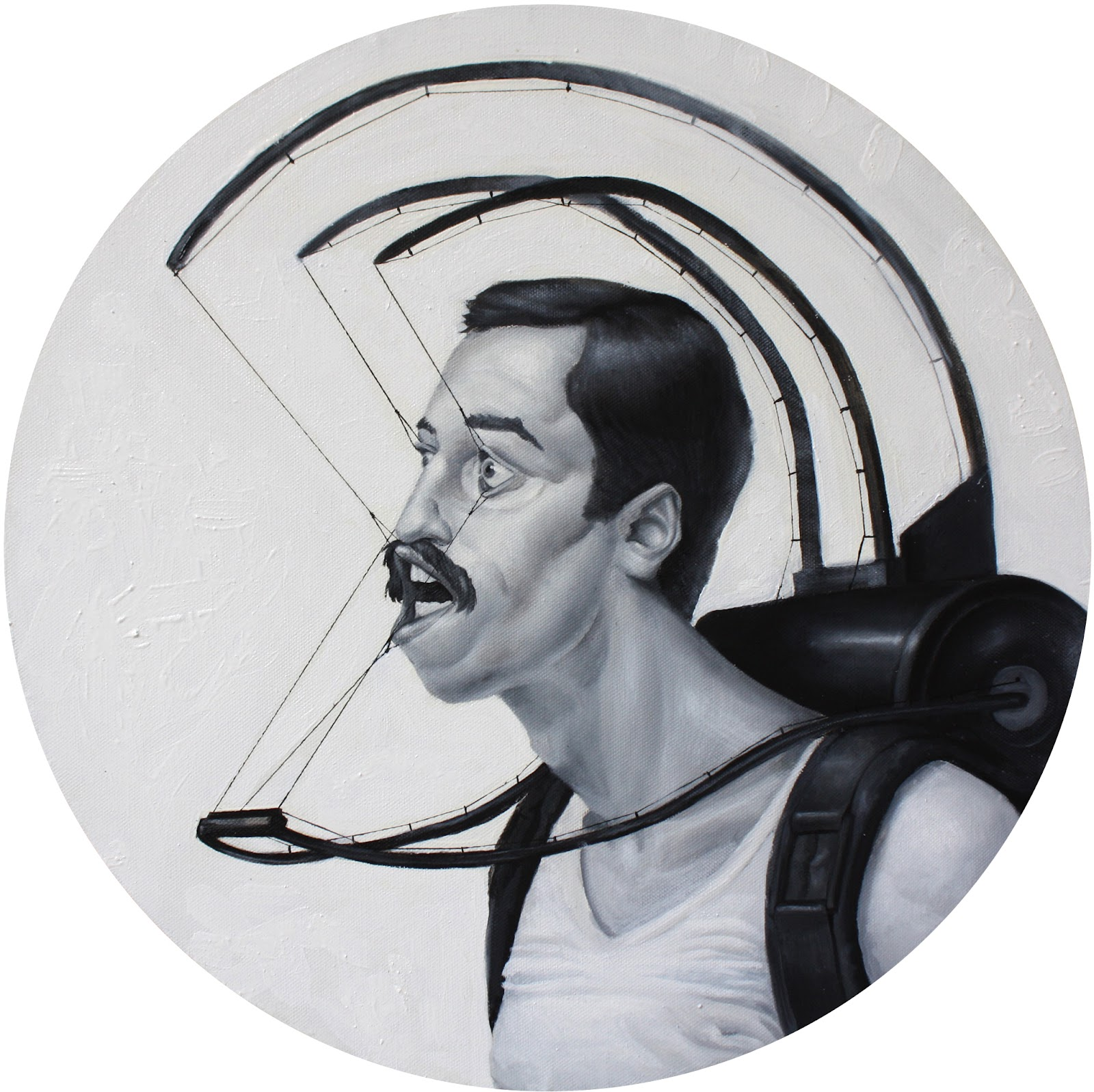 C. Lianos - Lacking choice, oil on canvas (50 cm diameter)