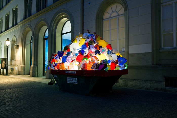 Plastic garbage guarding the museum