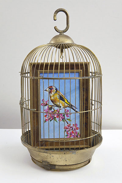 SeyoCizmic - Guilt-free, Birdcage and oil painting in frame