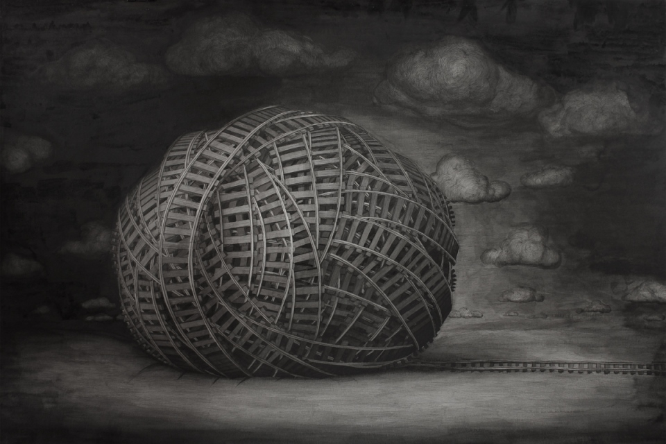 BrunoPontiroli - Untitled, Indian Ink on paper, 80 x 120 cm, 2014