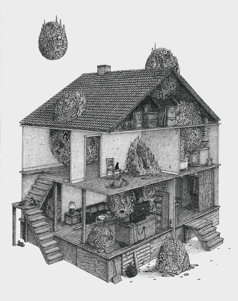 BenTolman - Invasion, 2016. Ink on Paper, 14 x 11 in.