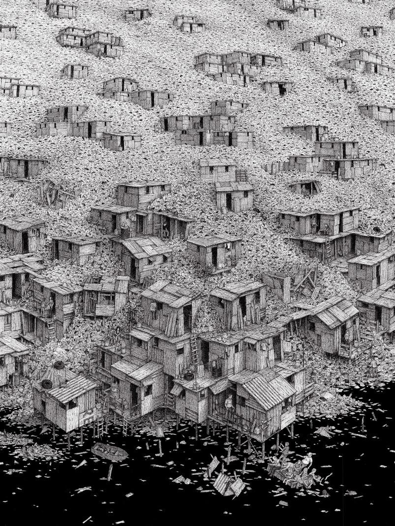 BenTolman - Refuge, 2016. Ink on Paper, 30x22 in.