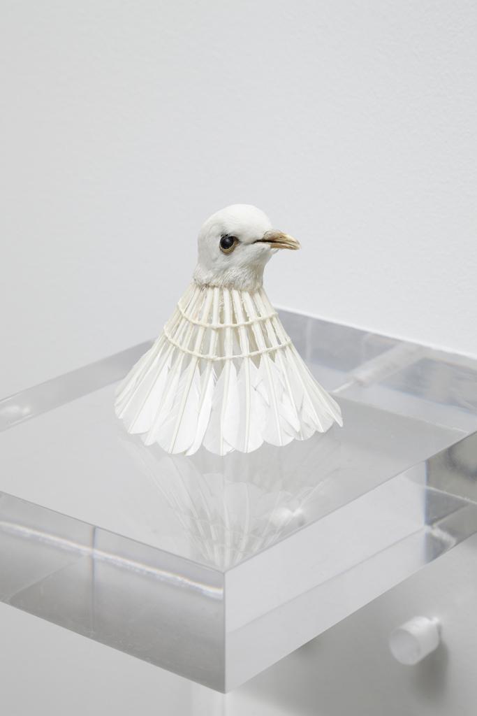 Myeongboem Kim - Birdie, mixed media, 12x12x12 cm