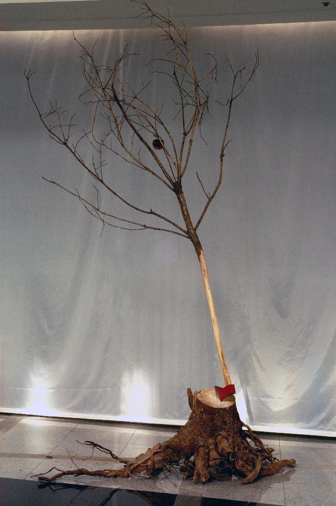 MyeongboemKim - Untitled, wood, ax, mixed media, 150x150x300 cm