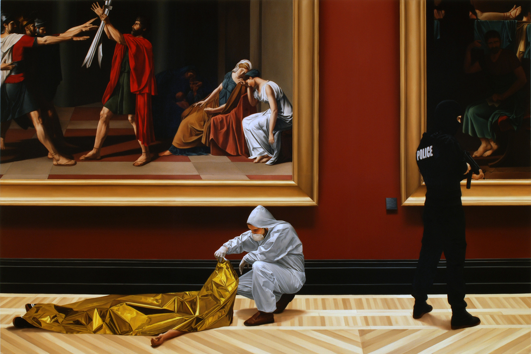 Kepa Garraza - Action of Assault on Art 7, Paris. Oil on canvas, 200 x 300 cm, 2008