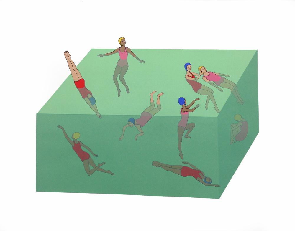 "Zoe Hawk - Aquarium, silkscreen, 22 x 28"", 2016"