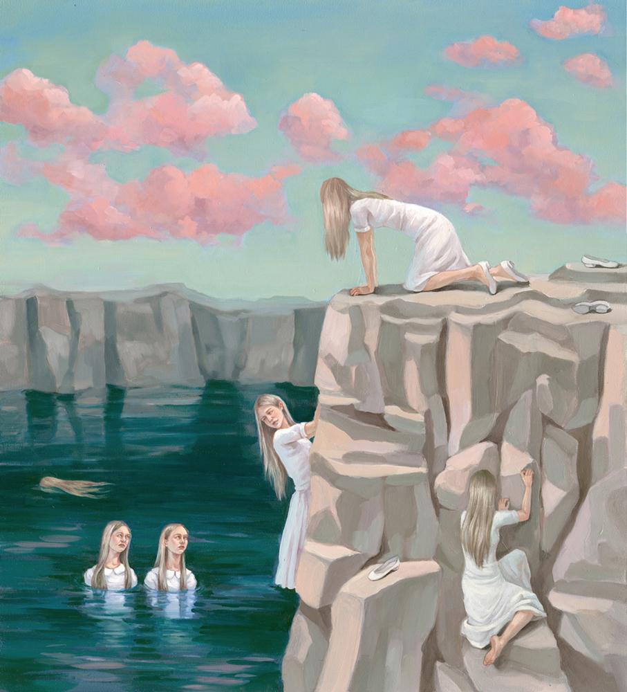 "Zoe Hawk - Waterway, oil on aluminum,16.75 x 18.5"", 2015"