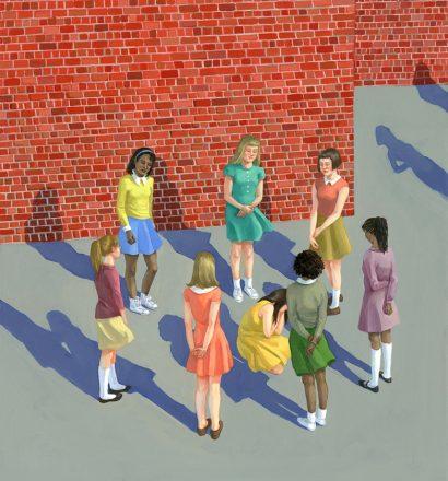 """Zoe Hawk - Cry, Sally, Cry, oil on aluminum, 15 x 17"""", 2014"""