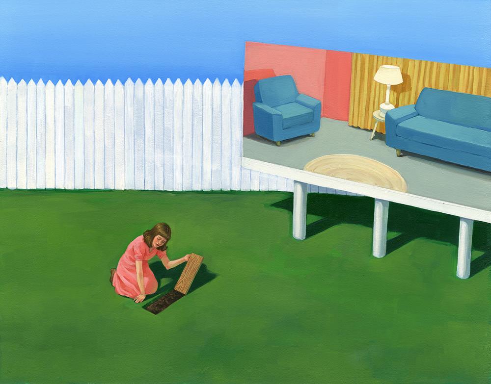"Zoe Hawk - Dream Home, oil on aluminum, 15 x 17.75"", 2014"