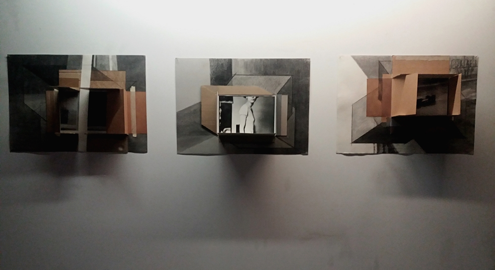 Aurora Kiraly - Viewfinder #4, #5, #13, charcoal on paper, cardboard and photo, 50,5x72cm, 2014-2015