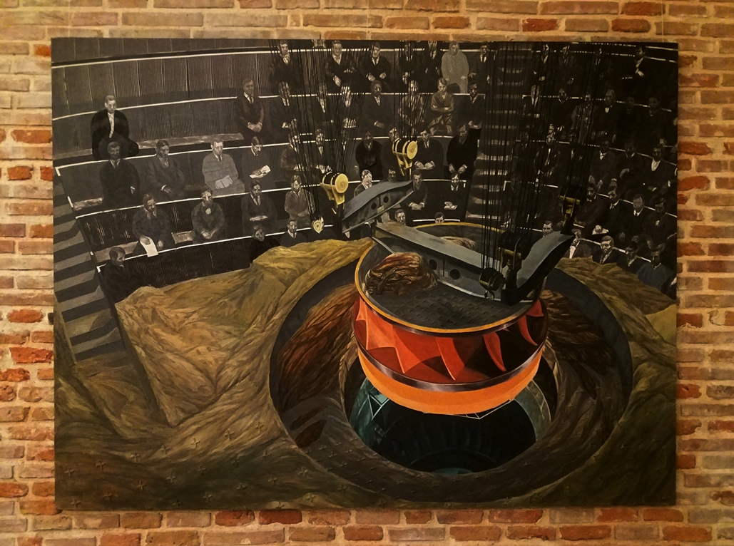 Ștefan Ungureanu - Terraforming through Terraporting, mixed media on canvas, 50x200 cm, 2011