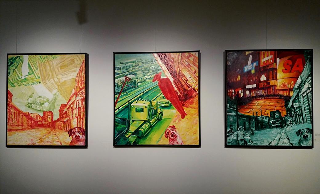 Nicolae Comănescu - Wherever I go I feel lucky, acrylic on canvas, 120x110 cm, 2004