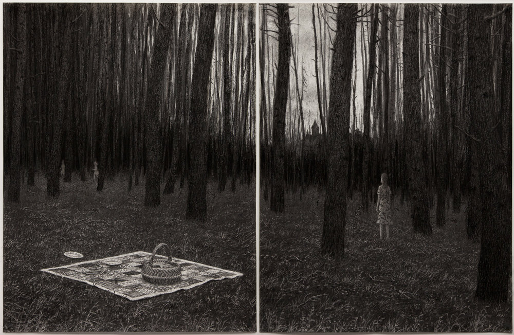 Aron Wiesenfeld - Picnic, diptych, charcoal on paper, 25 x 40 in., 2016