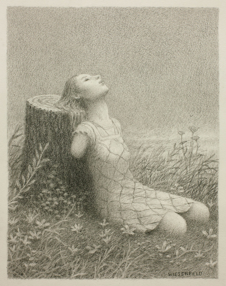 Aron Wiesenfeld - The Widow, graphite on paper, 9 x 7 in., 2015