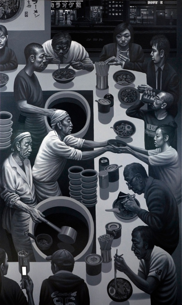 Carl Randall - Mr.Kitazawa's Noodle Bar, Tokyo, oil paint on canvas, 97 x 162cm, 2011