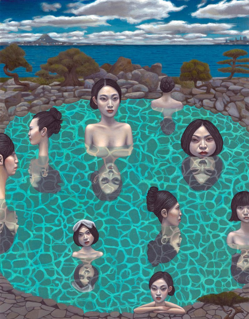 Carl Randall - Onsen, oil paint on canvas, 32 x 41cm, 2012