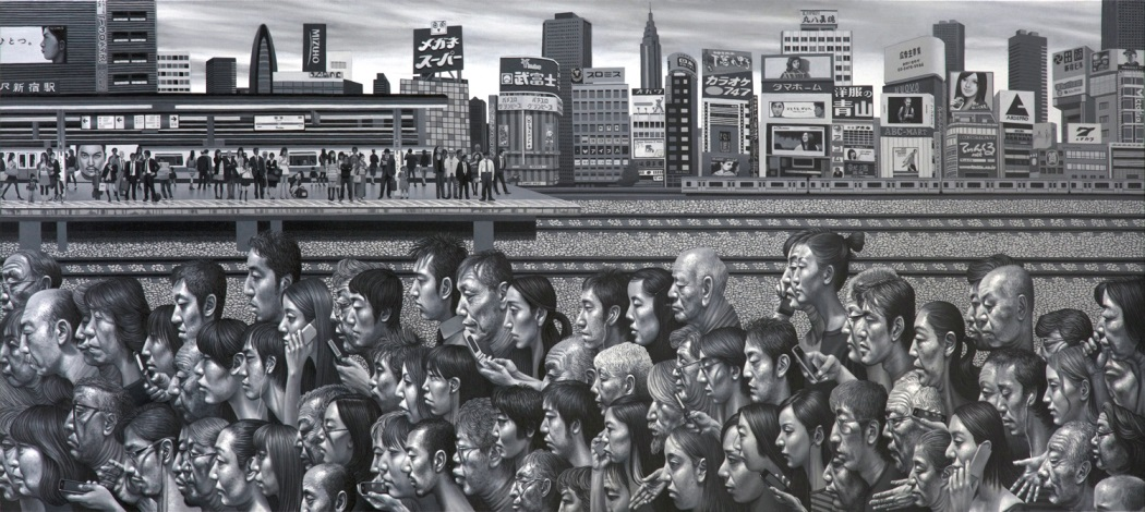 Carl Randall - Shinjuku, oil paint on canvas, 230 x 100cm, 2011