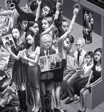 Carl Randall - Tokyo Subway,acrylic paint on canvas, 162 x 130cm, 2008