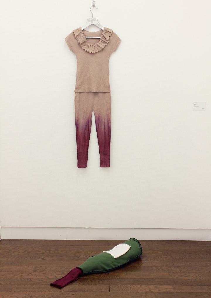 Sophi Vejrich - Wetland, 18x40x2cm wall object / 80x23x12cm floor object. Fabric, aluminium