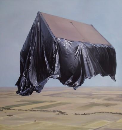 Zoltán Béla Real Estate take off, 2013, oil on canvas, 100 × 100 cm / Anca Poteraşu Gallery
